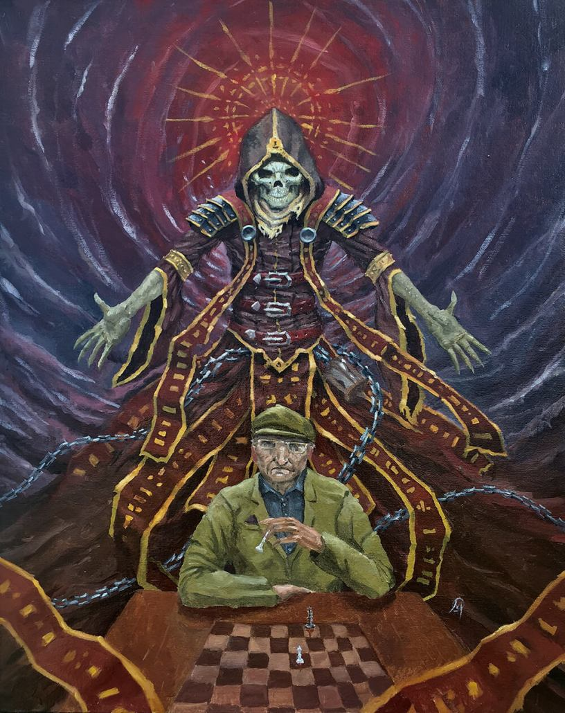 Old man playing chess with grim reaper behind him oil painting by Adam Miconi