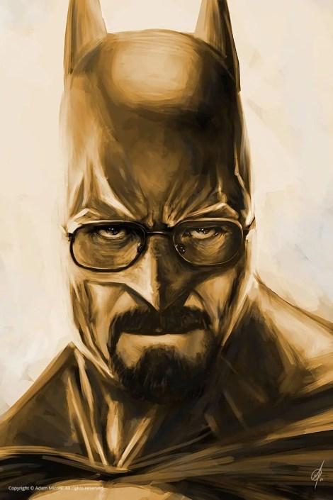 Breaking Bad and Batman mashup named Heisenbat digital painting by Adam Miconi