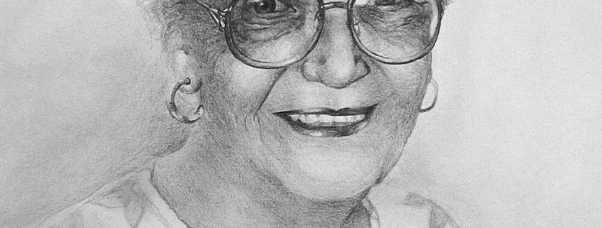Mary Lou Rhees charcoal portrait drawing by Adam Miconi