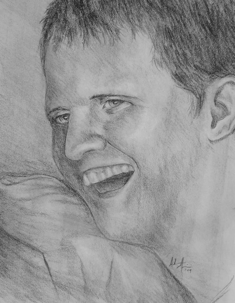 Nathan Hadley charcoal portrait drawing by Adam Miconi