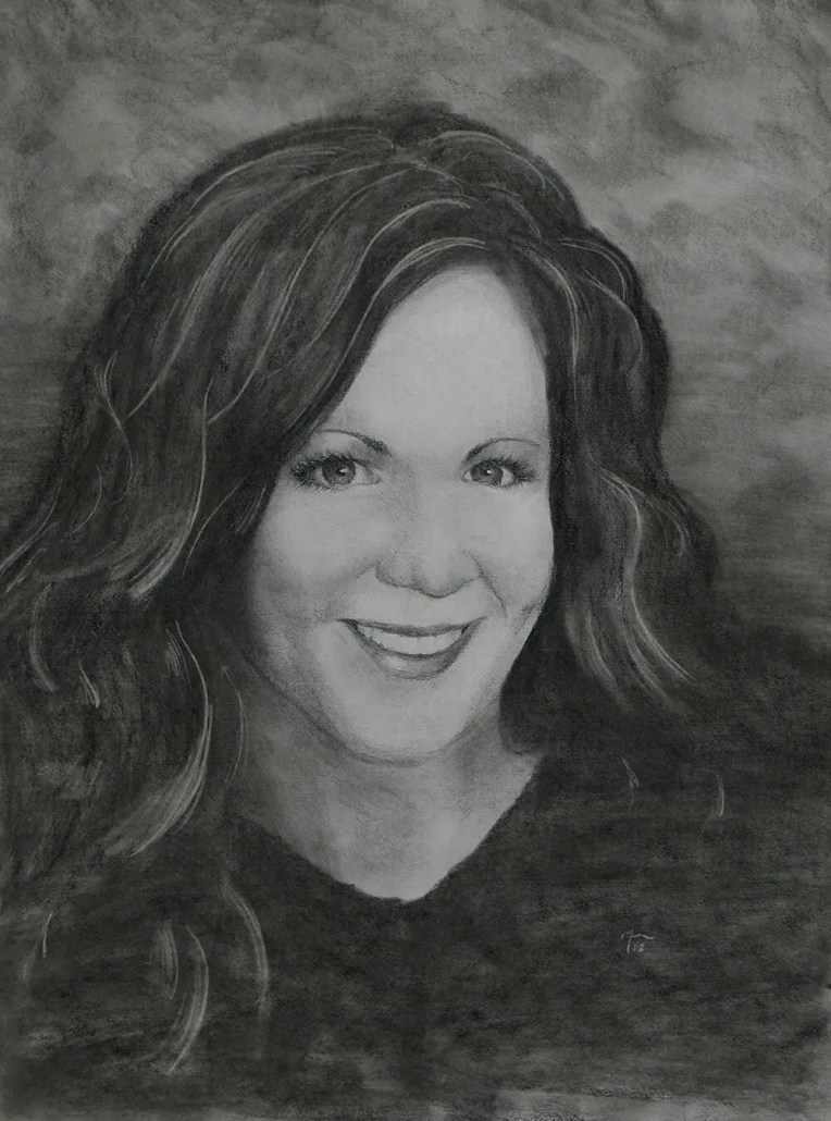 Shauna charcoal portrait drawing by Adam Miconi