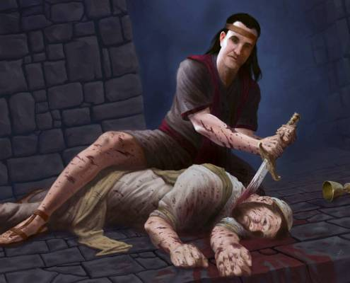 Nephi beheading Laban from Book of Mormon story digital painting by Adam Miconi