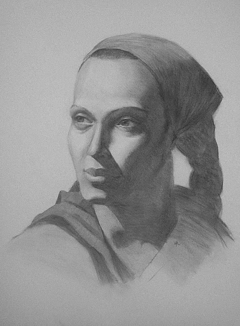 Woman's portrait final in charcoal by Adam Miconi