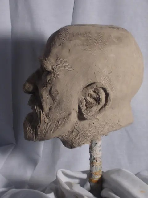 Clay Head Sculpture in Profile