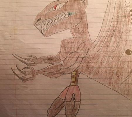 Old childhood drawing of a monster by Adam Miconi