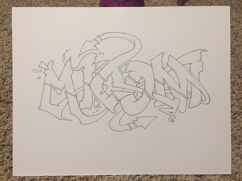 Graffiti Writing Pen Over Pencil