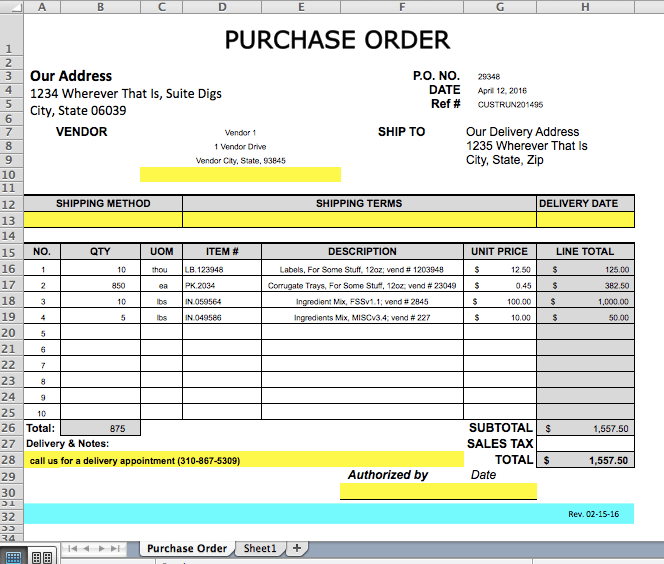 Screenshot of an Excel purchase order template