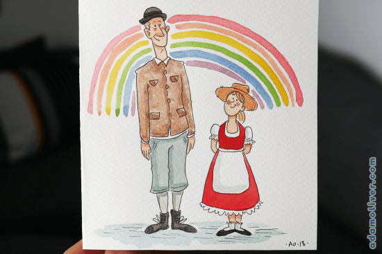A watercolour illustration for theatre show, 'whatever the weather'