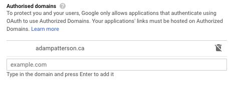 Google Site Kit - Google Cloud - Authorized Domains