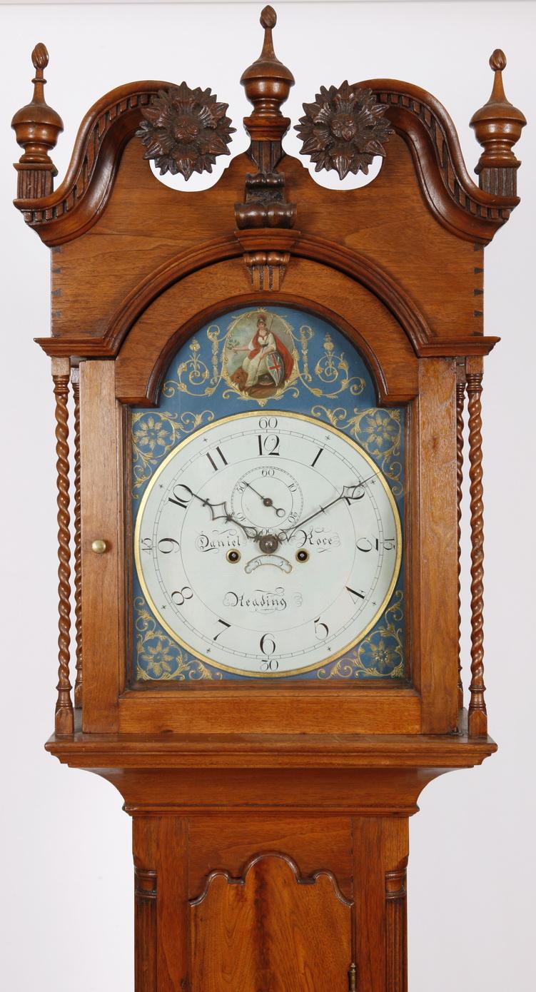 Daniel Rose Reading Pa Walnut Chipendale Tall Case Clock