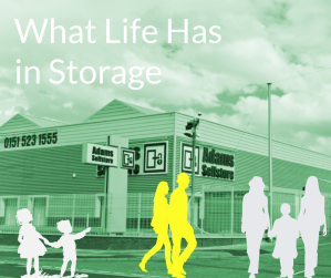 A child, couple, and family looking for storage.