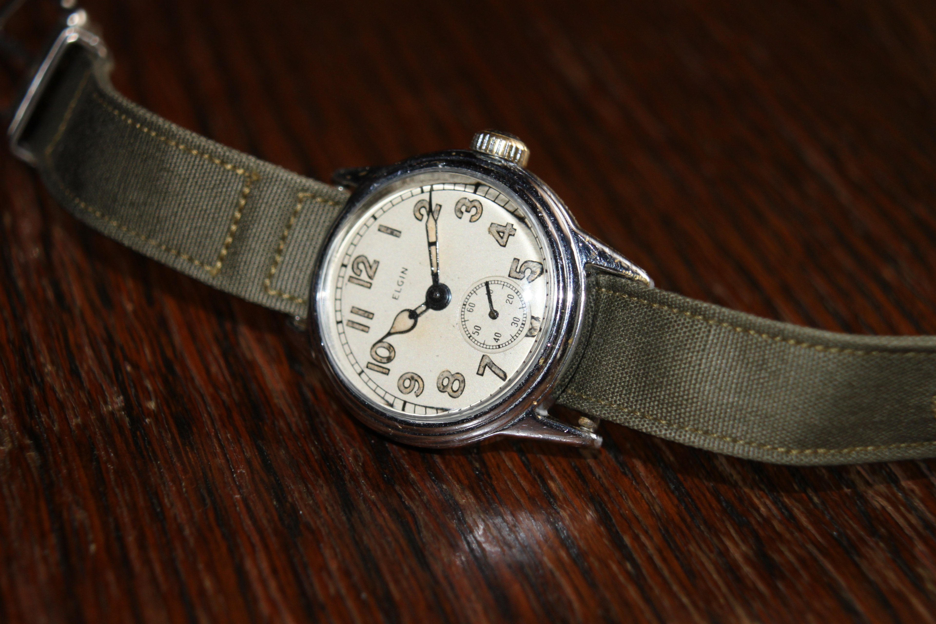 SOLD  WW2 Official Military Issue Elgin Manual Wind
