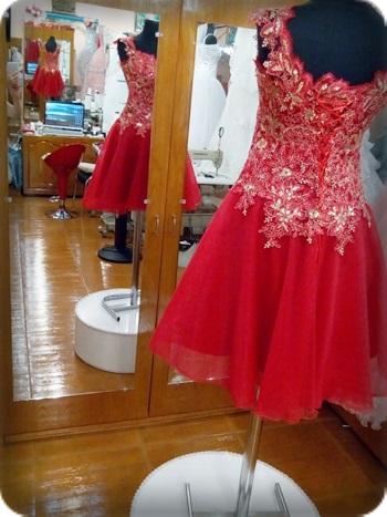Arkası ipli Kırmızı kına kıyafeti