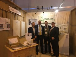 Adaptavate Team at UK Construction Week 2016, launching our healthy, natural,, non-toxic lime plaster, Breathaplasta