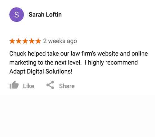 A screenshot of a Google review from Sarah Loftin, a lawyer who had a website and SEO done by us
