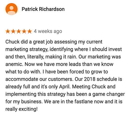 A screenshot of a Google review from Patrick Richardson, the owner of Murrayhill Remodeling, who had a website and Adwords done by Adapt Digital Solutions