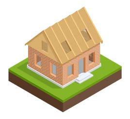 An illustration of a new roof on top of walls.