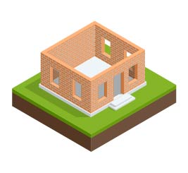An illustration of walls sitting on a foundation.