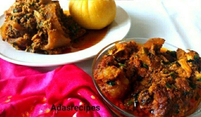 Ugu Uziza Leaves Stir-Fried Egusi Soup Recipe