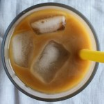 Straw in a glass with cold brewed coffee