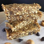 A stack of cashew date bars