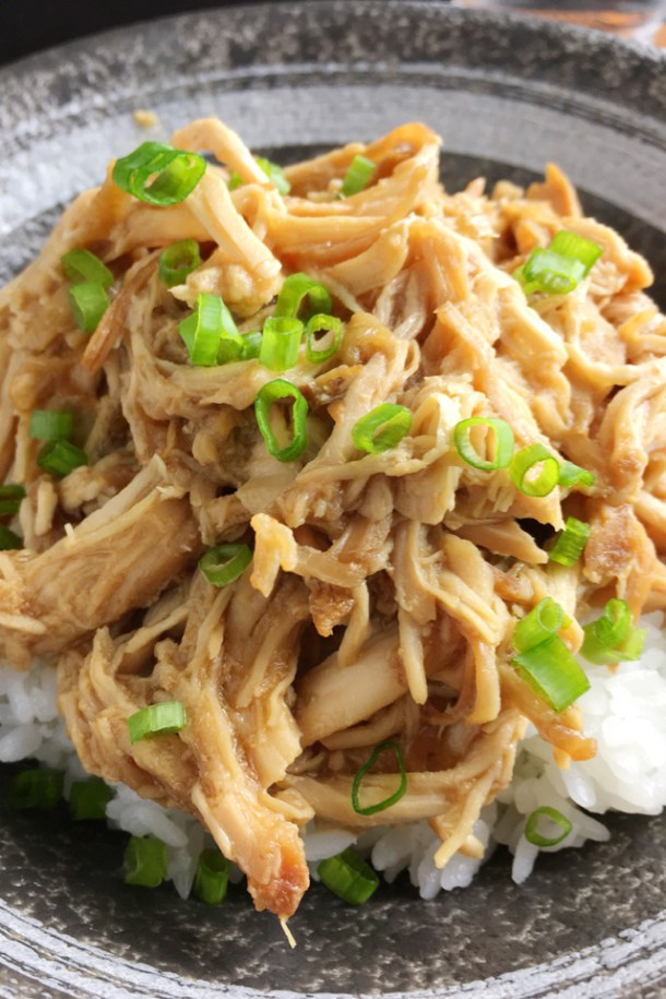 Close-up of Slow Cooker Teriyaki Pulled Chicken on white rice with green onion