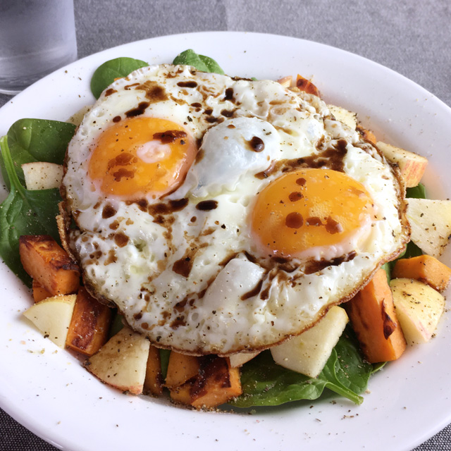 Crispy Fried Eggs Over Veggies