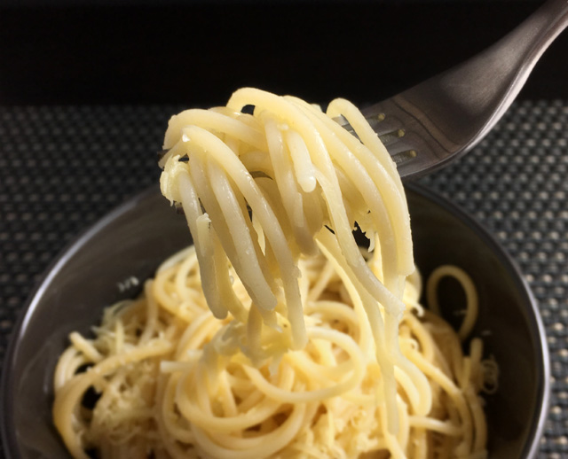 A forkful of spaghetti from Simple Parmesan Buttered Pasta
