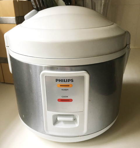 A Philips brand rice cooker for cooking Eggs In A Rice Cooker