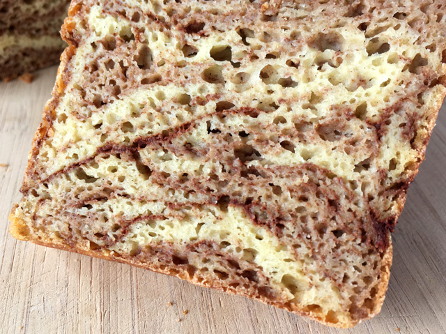 Close-up of a slice of Gluten-Free Cinnamon Marble Bread
