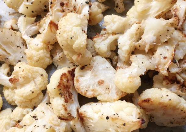 Roasted cauliflower for Roasted Cauliflower Hummus.