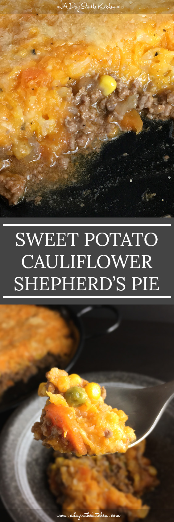 With the perfect flavor combination of sweet and savory, this Sweet Potato Cauliflower Shepherd's Pie is a winner of a meal. This twist on the traditional shepherd's pie is lighter and healthier, and is great one-dish meal. #shepherdspie #sweetpotatoshepherdspie #glutenfree #cauliflower #sweetpotatoes