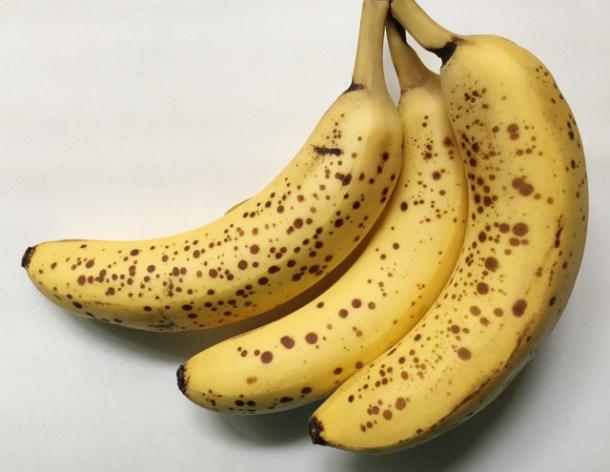 Three ripe spotted yellow bananas for gluten-free banana bread
