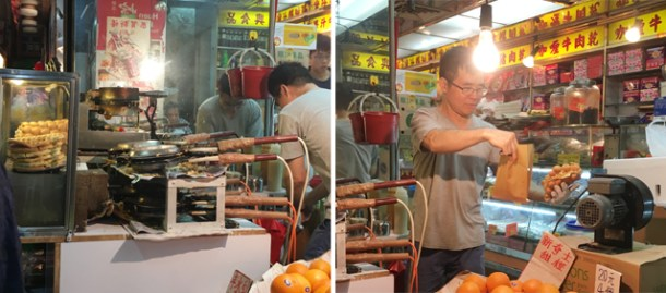 Two photos of a man preparing waffle balls on a Hong Kong foodie tour