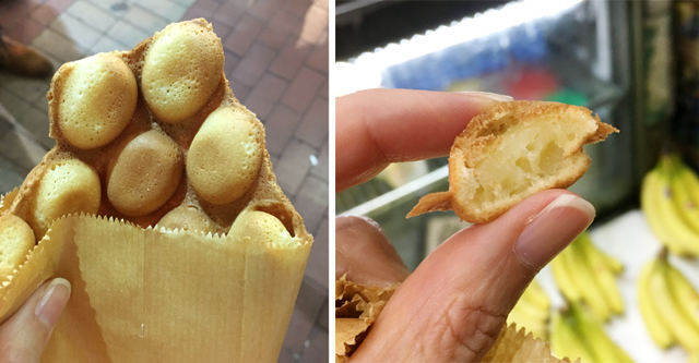 Two photos of waffle balls on a Hong Kong foodie tour
