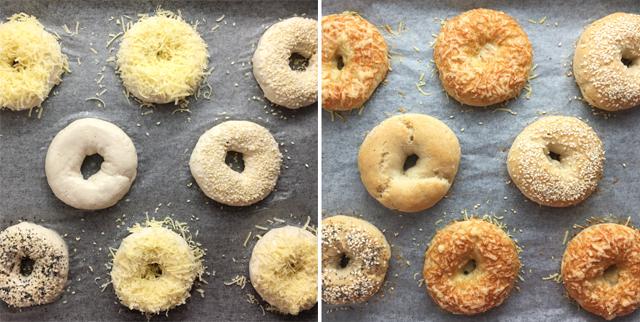 A split image of uncooked gluten-free bagels on the left, and baked gluten-free bagels on the right