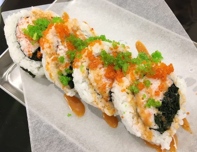 A custom maki roll containing crab, seaweed, and tobiko from Chotto Maki