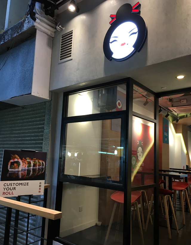 The outside of Chotto Maki restaurant in Hong Kong