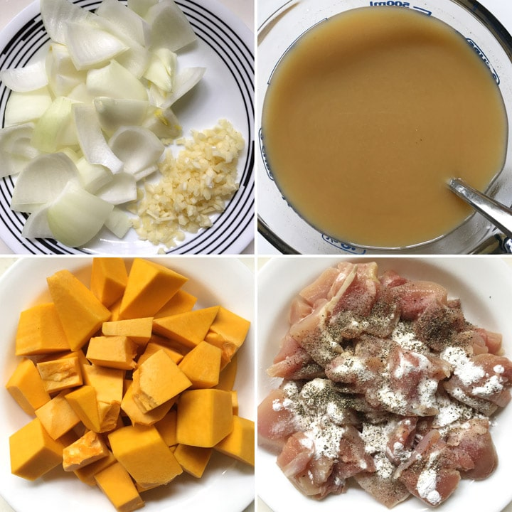Chopped onion, minced garlic, a measuring cup containing brown liquid, orange pumpkin chunks, pink raw chicken pieces with salt and pepper