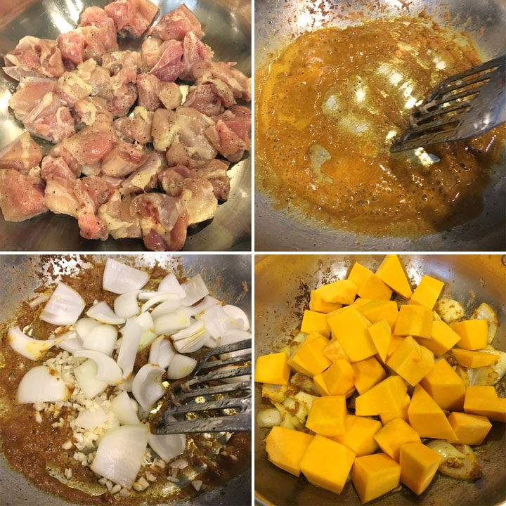 Browning chicken in a pan, toasting brown spices, cooking onion and pumpkin chunks