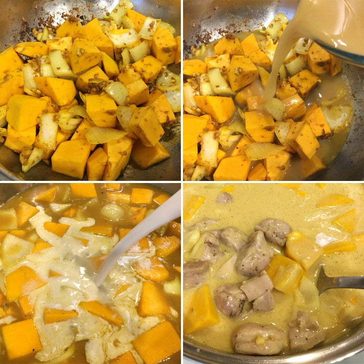 Cooking pumpkin and onions in a pan with sauce and chicken chunks