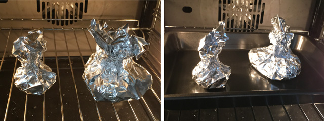 Foil-wrapped garlic bulbs show on an oven rack and in a pan for roasted garlic