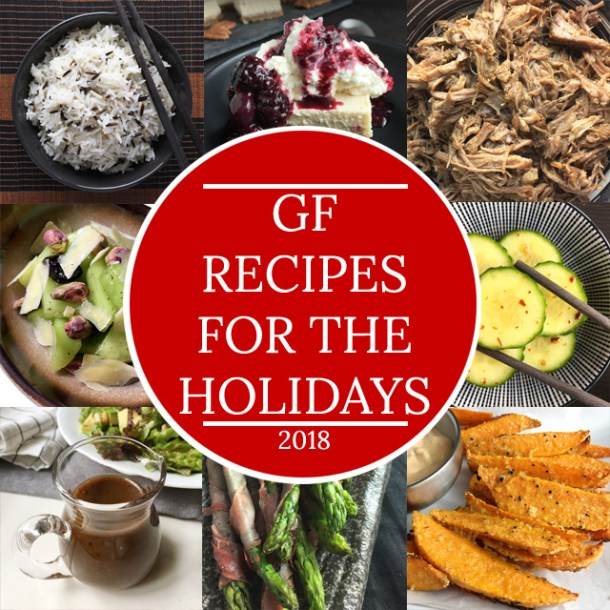 Collage of photos of gluten-free recipes for the holidays 2018
