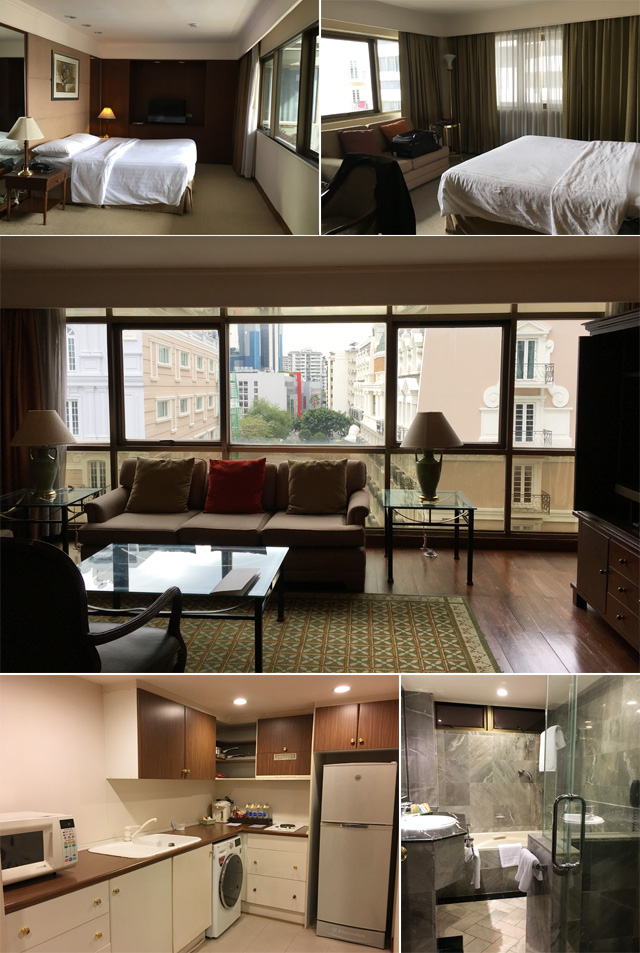 Photos of hotel bedrooms, couch, kitchen, and bathroom
