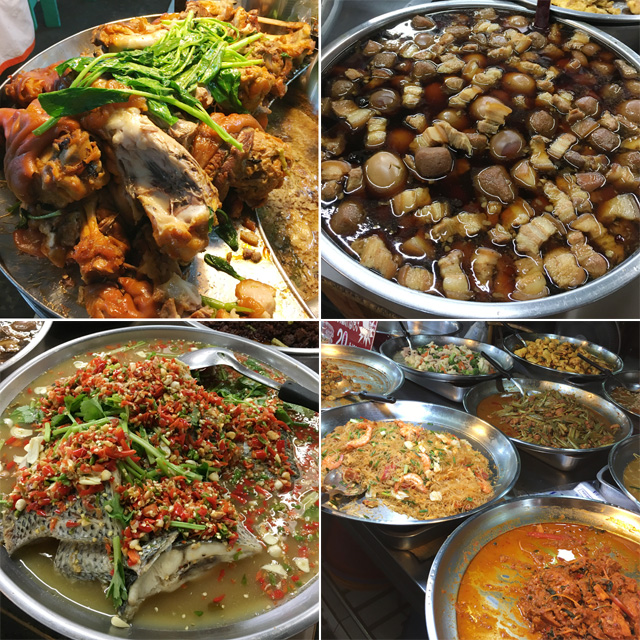 Photos of cooked food in large round pots