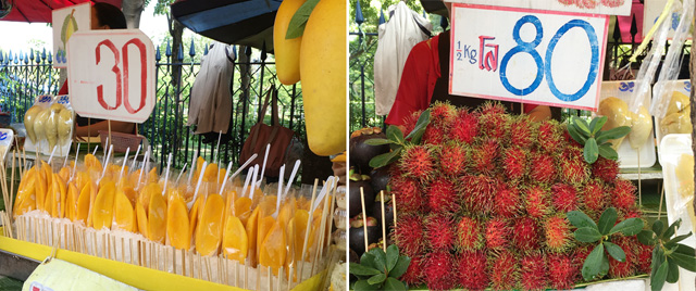 Two photos, several bags of sliced mango on the left, a pile of round red hairy fruit on the right