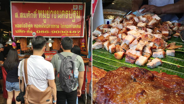 Crispy roast pork belly at the Chatuchak Market in Bangkok