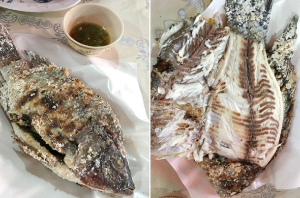 Two photos, a whole cooked fish on the left, and the skin peeled back on the fish on the right