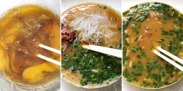How to make egg foo young with eggs, barbecued pork, and green onions