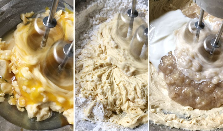 A three image collage showing eggs, flours, bananas, and sour cream being mixed into a batter